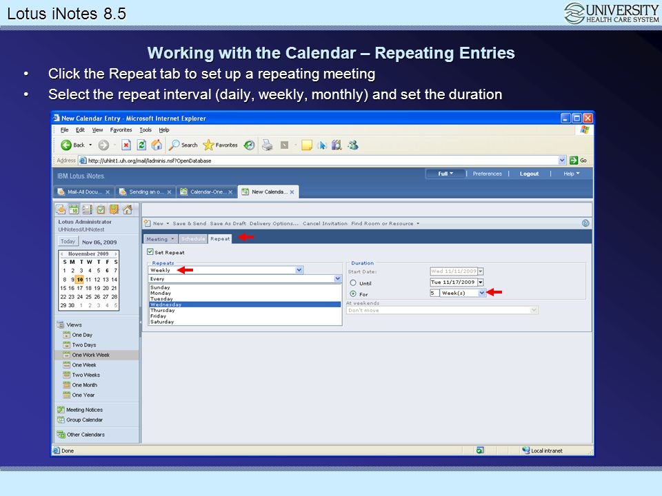 Working with the Calendar – Repeating Entries