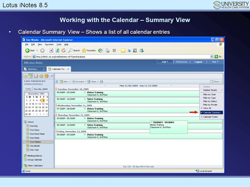 Working with the Calendar – Summary View
