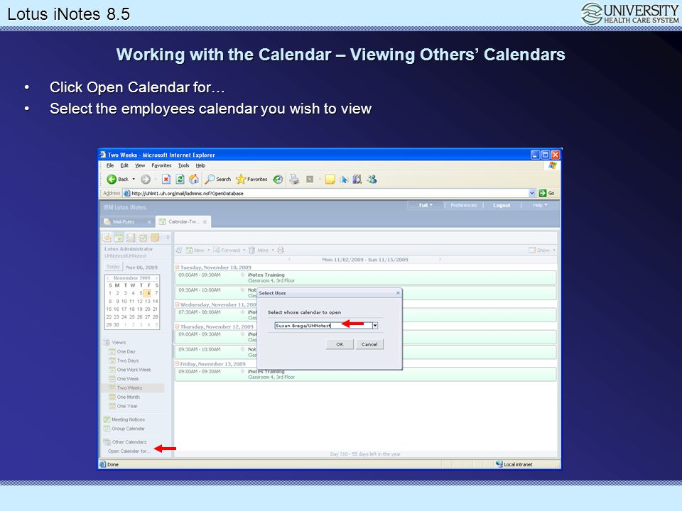 Working with the Calendar – Viewing Others' Calendars