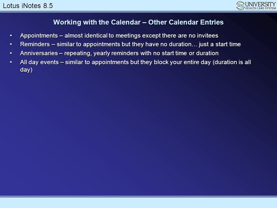 Working with the Calendar – Other Calendar Entries