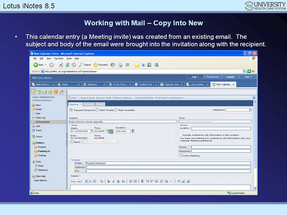 Working with Mail – Copy Into New