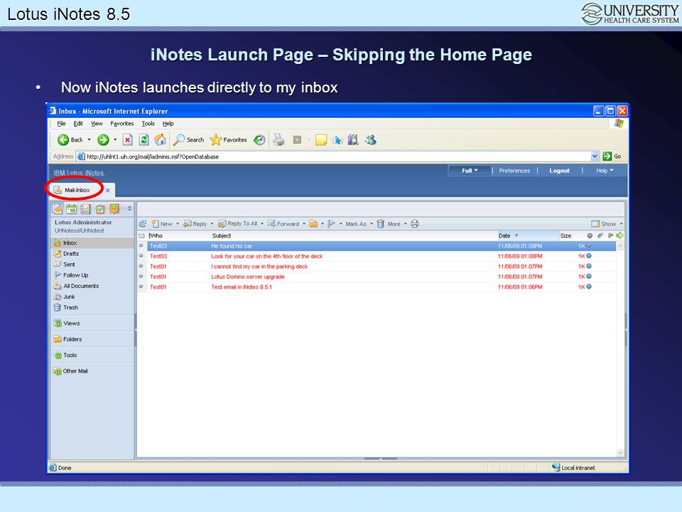 iNotes Launch Page – Skipping the Home Page