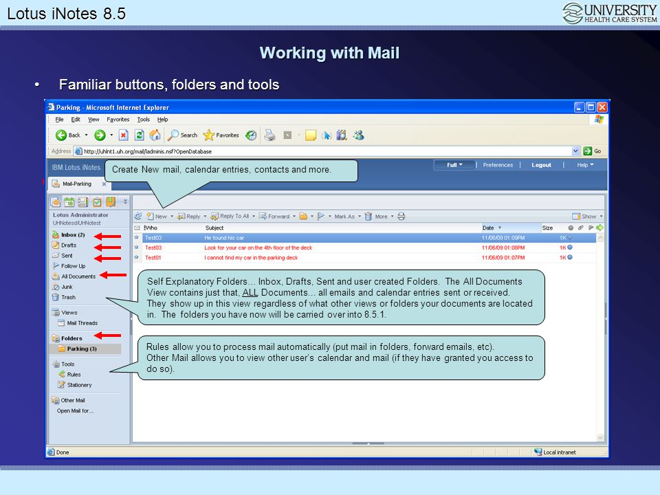 Working with Mail Familiar buttons, folders and tools