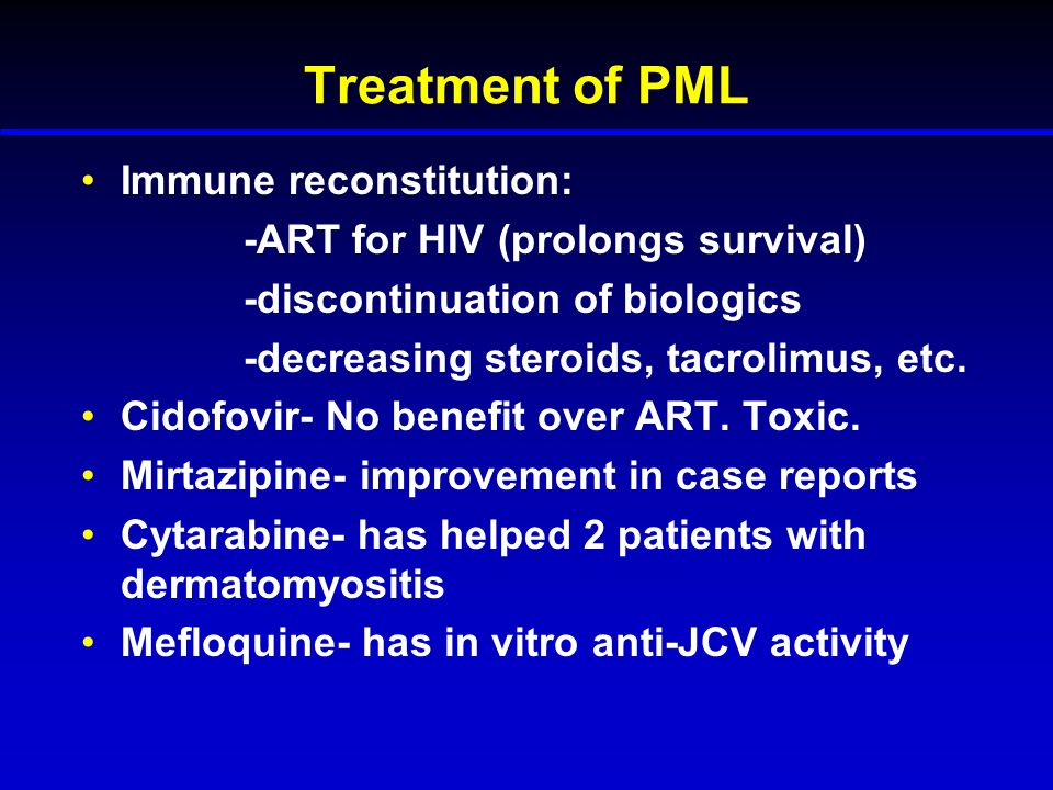 Treatment of PML Immune reconstitution: