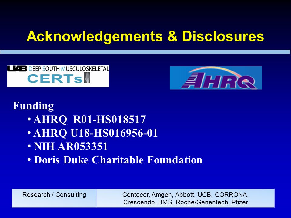 Acknowledgements & Disclosures