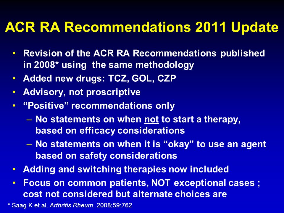 ACR RA Recommendations 2011 Update