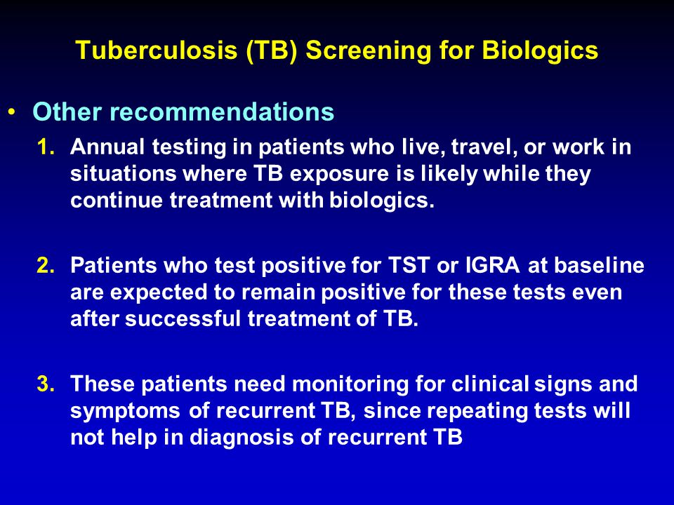 Tuberculosis (TB) Screening for Biologics