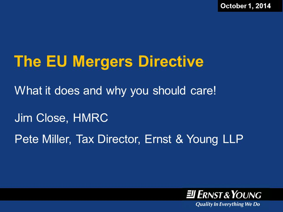 The EU Mergers Directive