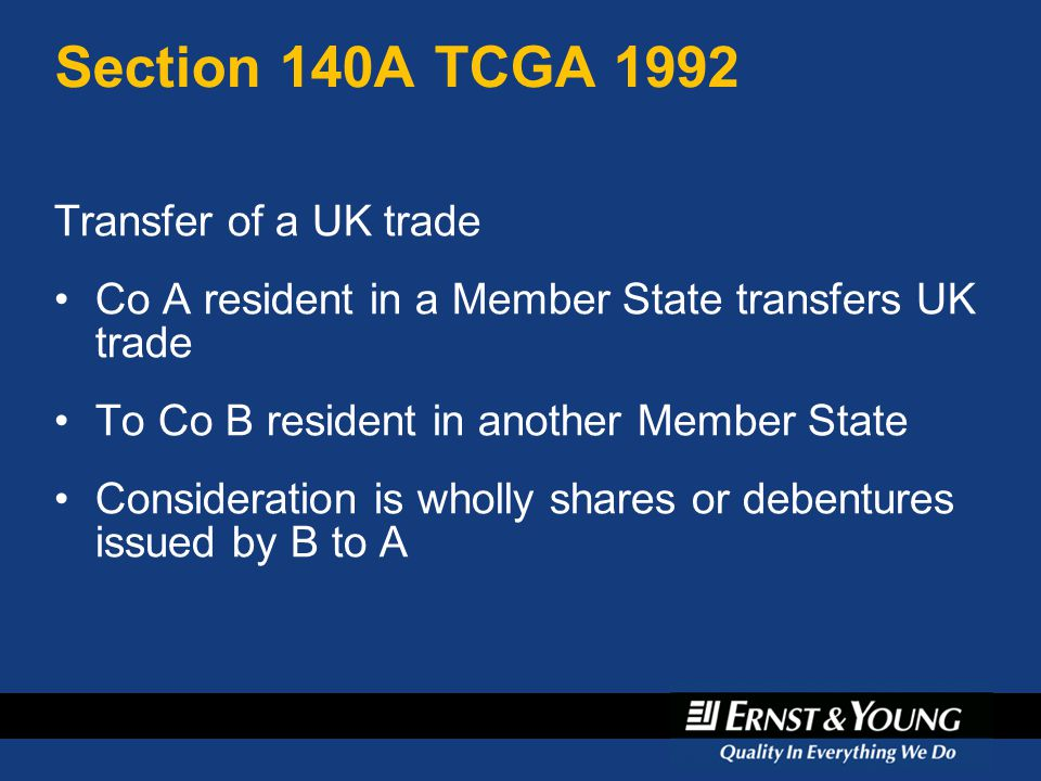 Section 140A TCGA 1992 Transfer of a UK trade