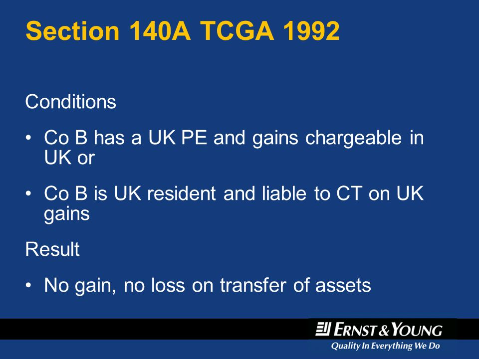 Section 140A TCGA 1992 Conditions