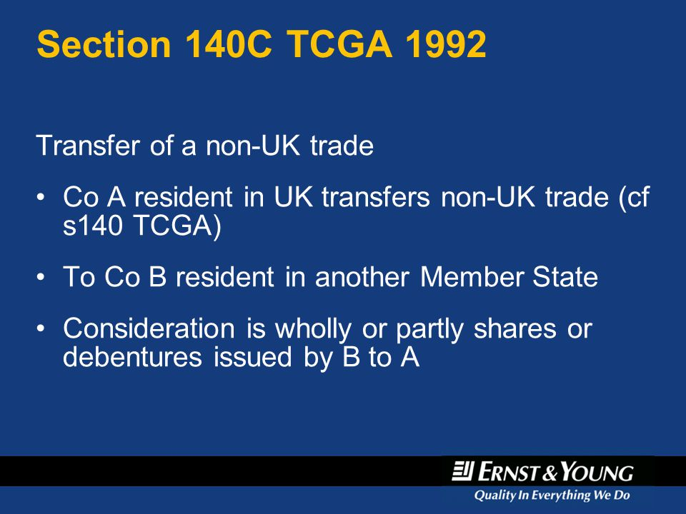 Section 140C TCGA 1992 Transfer of a non-UK trade