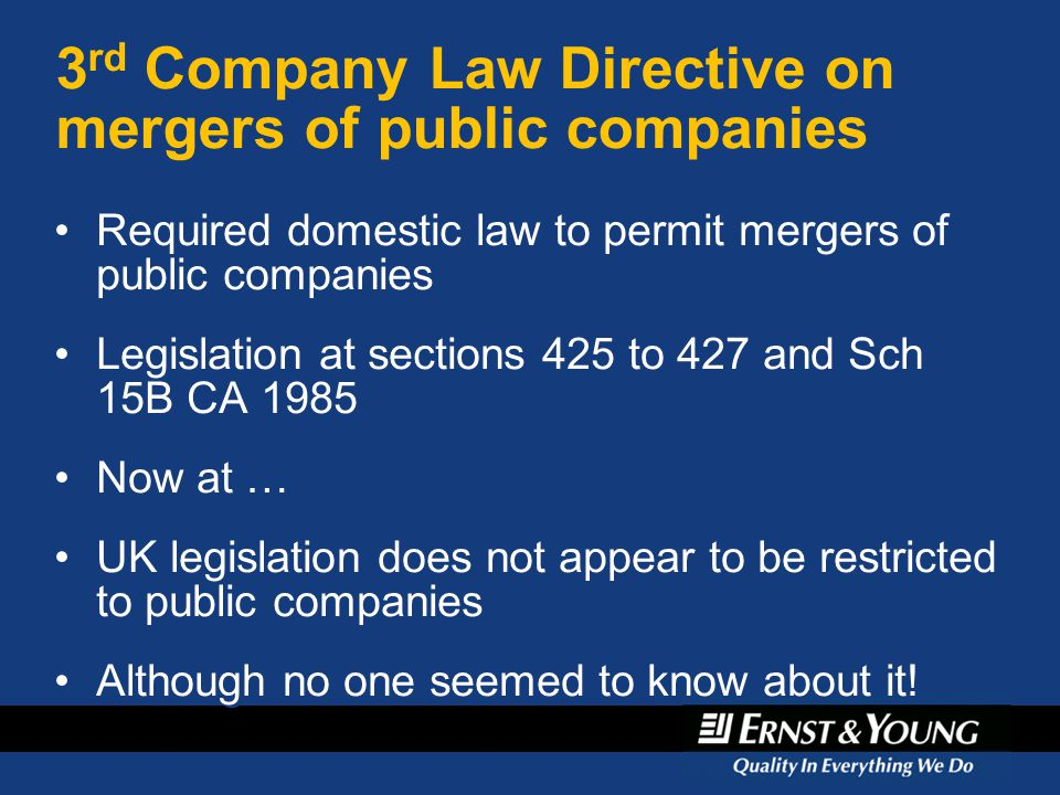 3rd Company Law Directive on mergers of public companies