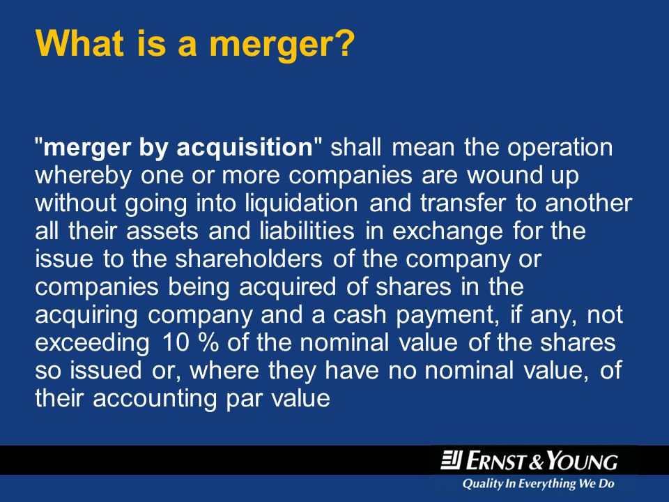 April 6, 2017 What is a merger