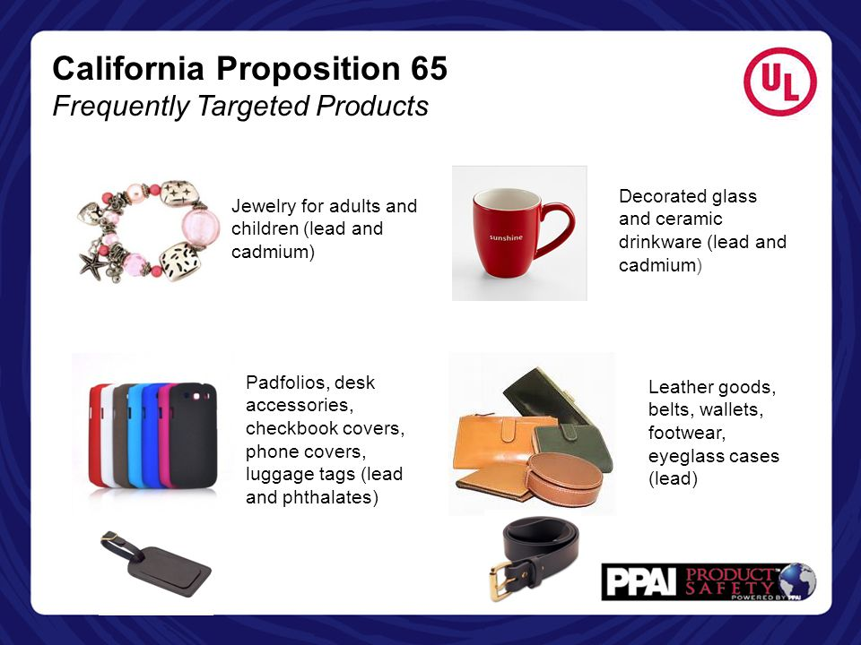 California Proposition 65 Frequently Targeted Products
