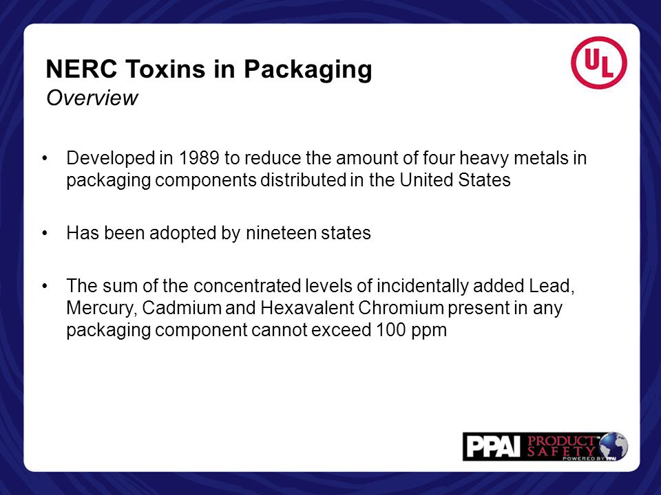 NERC Toxins in Packaging Overview