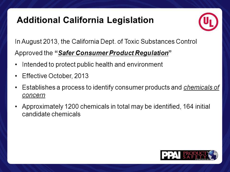 Additional California Legislation