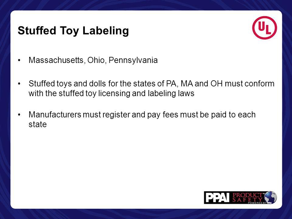 Stuffed Toy Labeling Massachusetts, Ohio, Pennsylvania