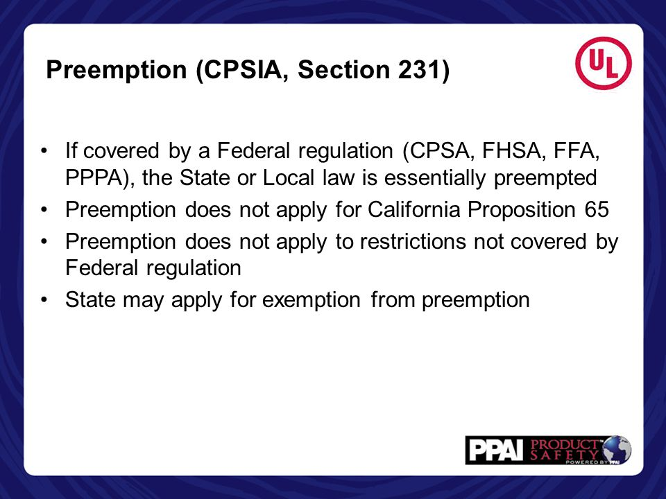 Preemption (CPSIA, Section 231)
