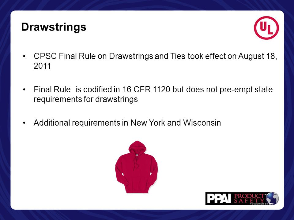 Drawstrings CPSC Final Rule on Drawstrings and Ties took effect on August 18, 2011.