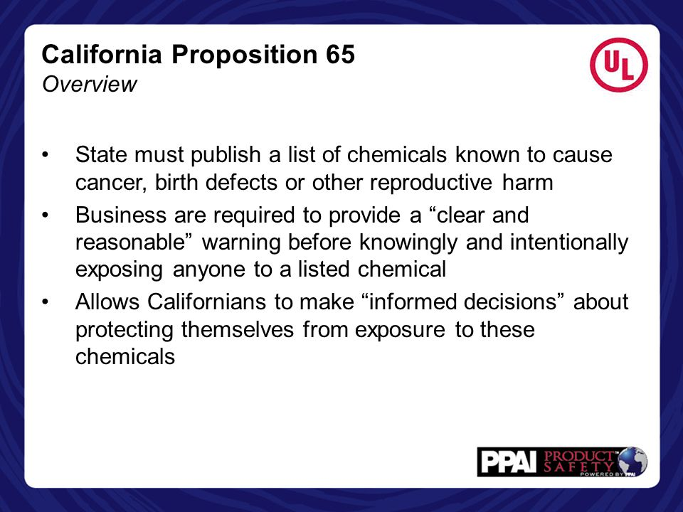 California Proposition 65 Overview