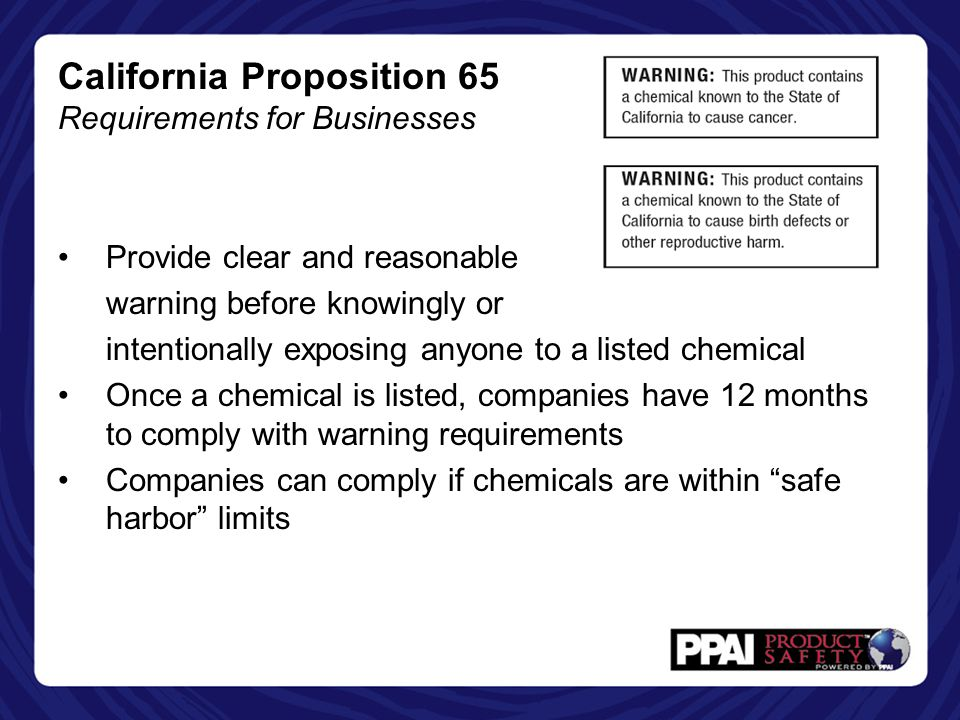 California Proposition 65 Requirements for Businesses