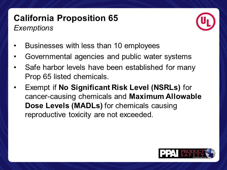 California Proposition 65 Exemptions