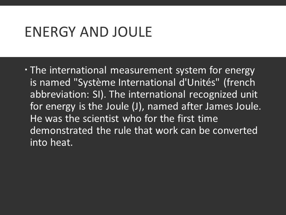 Energy and Joule