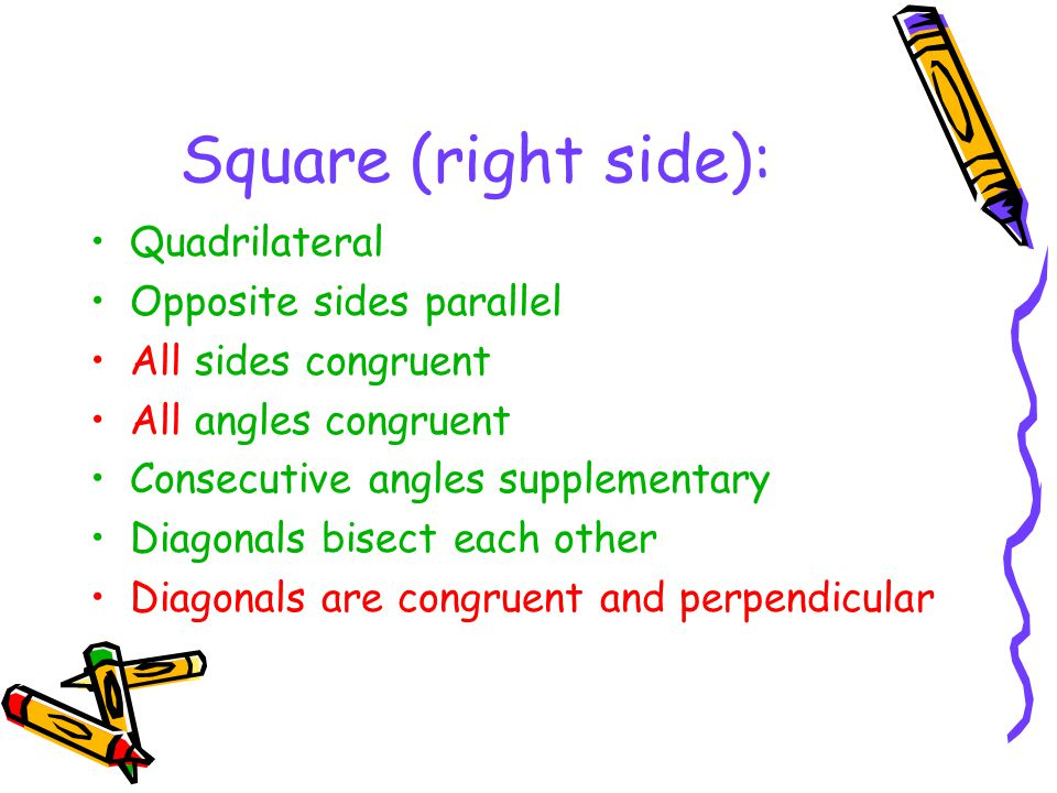 Square (right side): Quadrilateral Opposite sides parallel