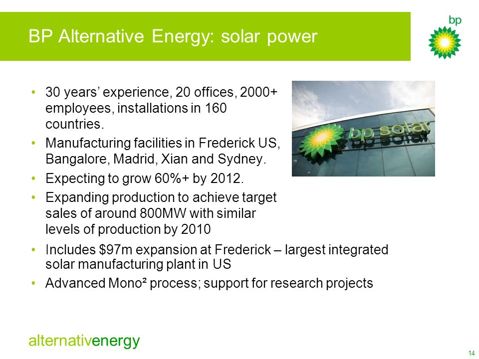 BP Alternative Energy: solar power