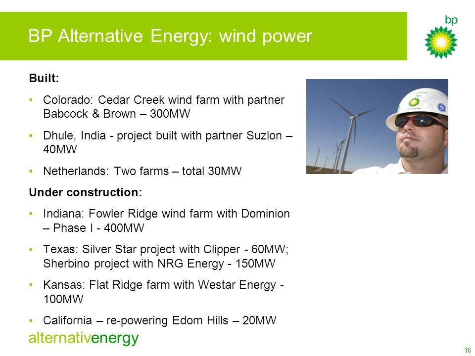 BP Alternative Energy: wind power