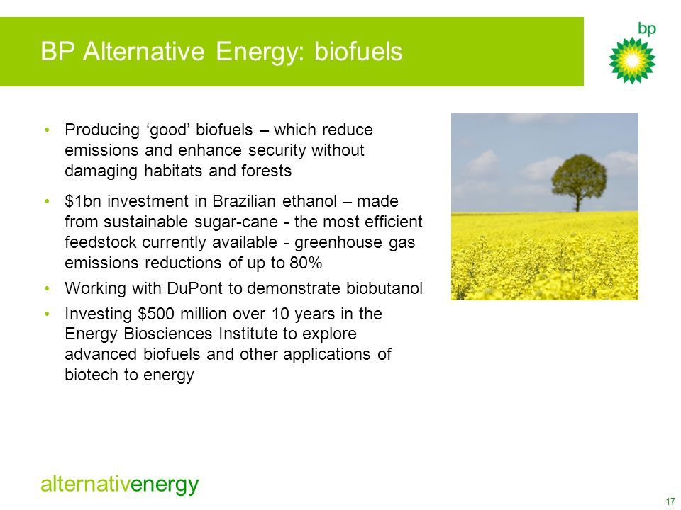 BP Alternative Energy: biofuels