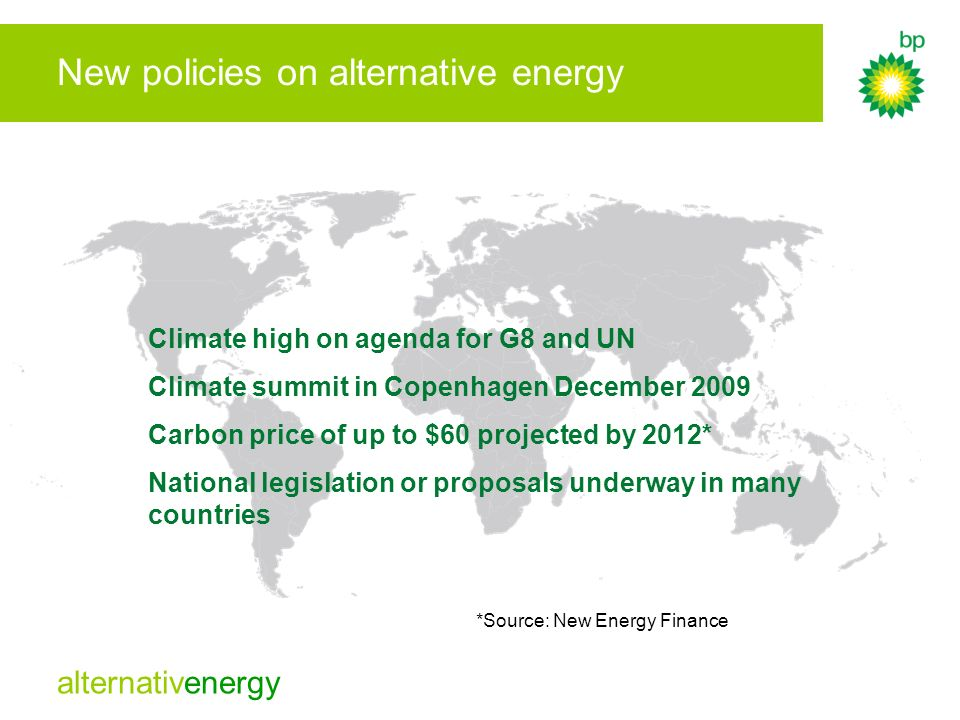 New policies on alternative energy