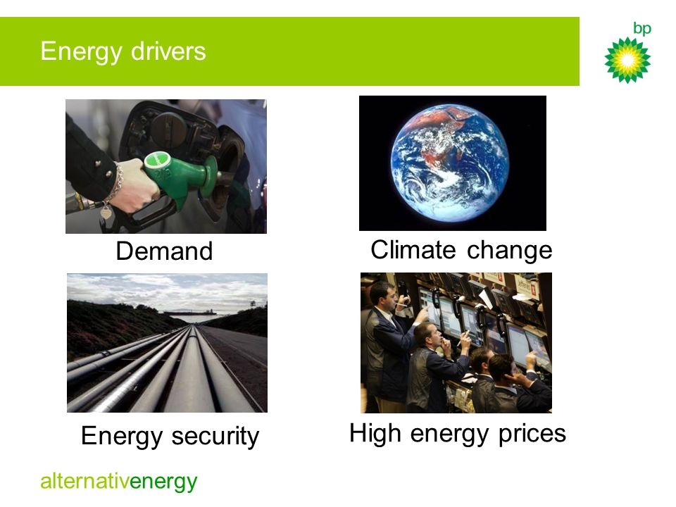 Energy drivers Demand Climate change Energy security High energy prices