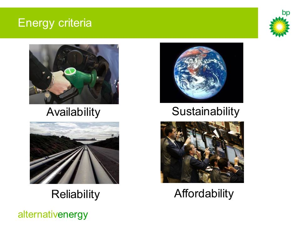 Energy criteria Availability Sustainability Reliability Affordability