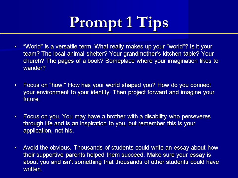 two uc essay prompts 11 - a brief guide to the uc application doubling-up your essays (ie writing one essay that works for two prompts) can make your essay better for both schools.