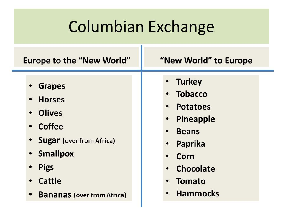 Europe to the New World