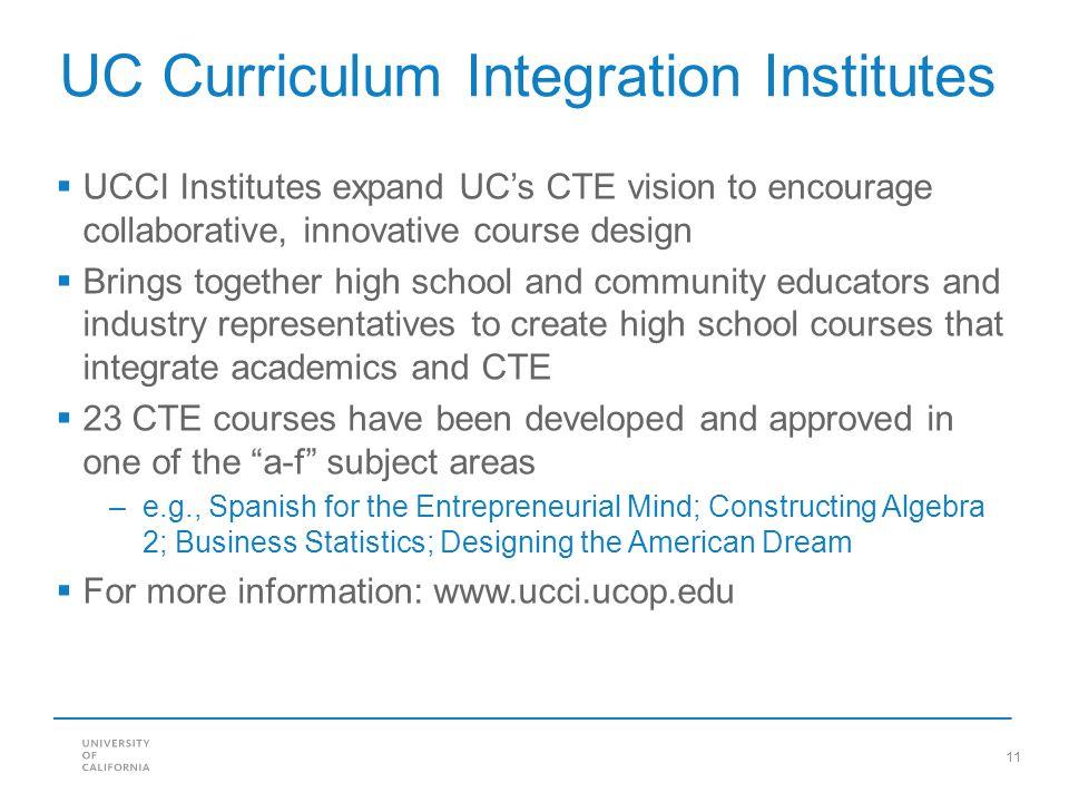 UC Curriculum Integration Institutes