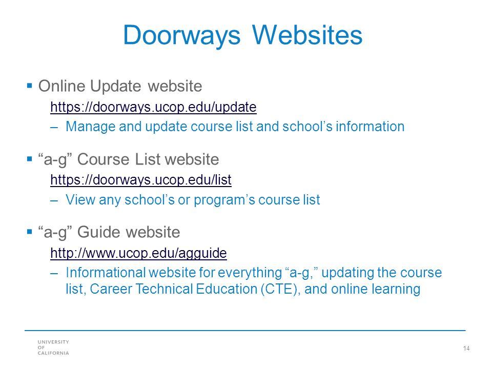 Doorways Websites Online Update website a-g Course List website