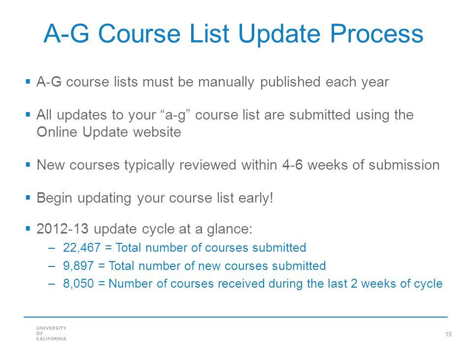 A-G Course List Update Process