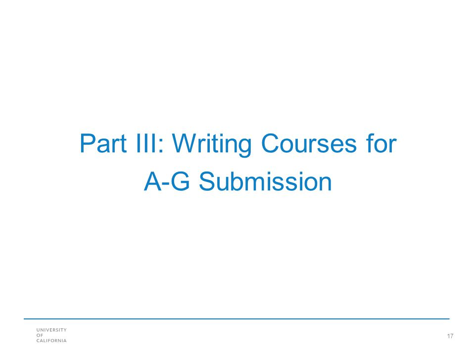 Part III: Writing Courses for A-G Submission