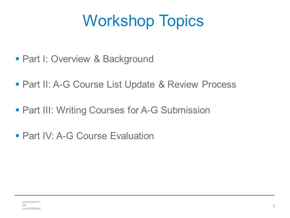Workshop Topics Part I: Overview & Background