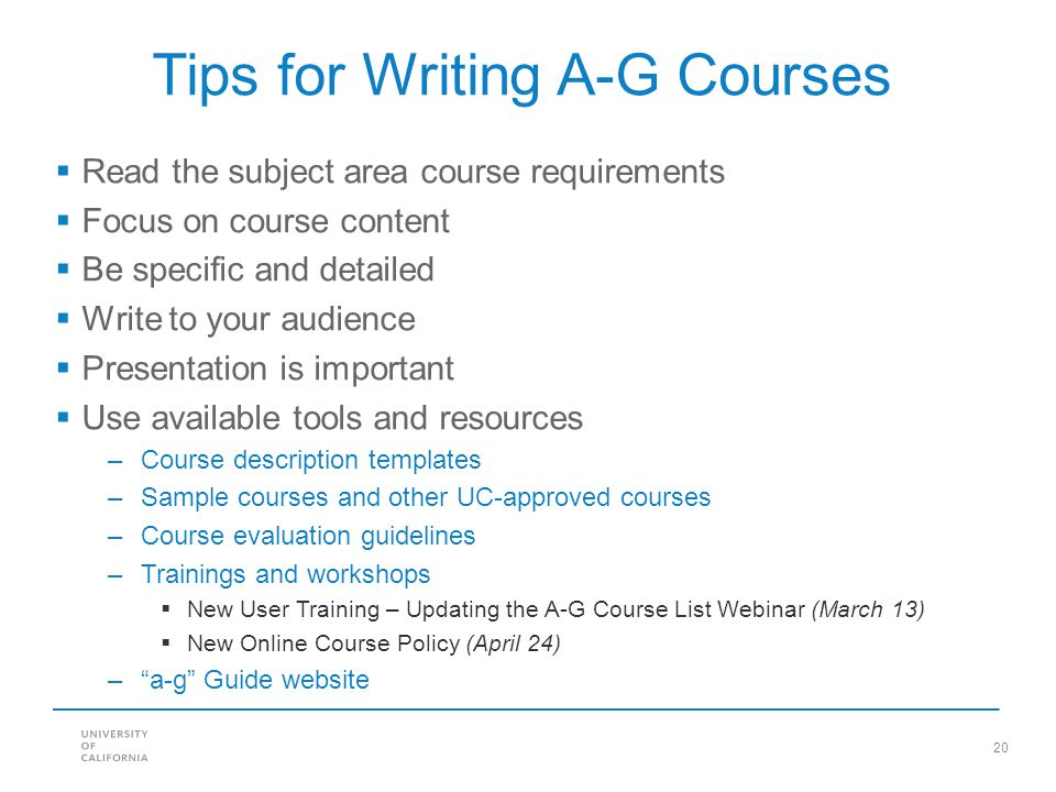 Tips for Writing A-G Courses