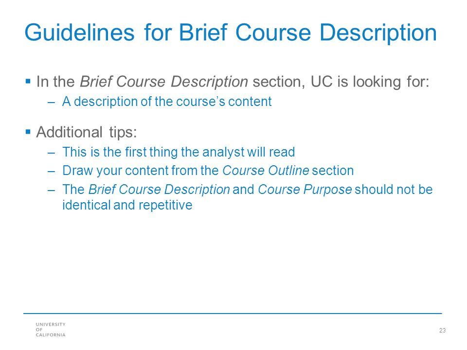 Guidelines for Brief Course Description
