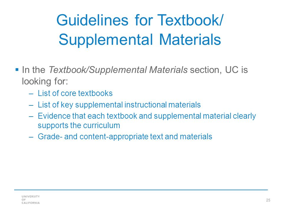 Guidelines for Textbook/ Supplemental Materials