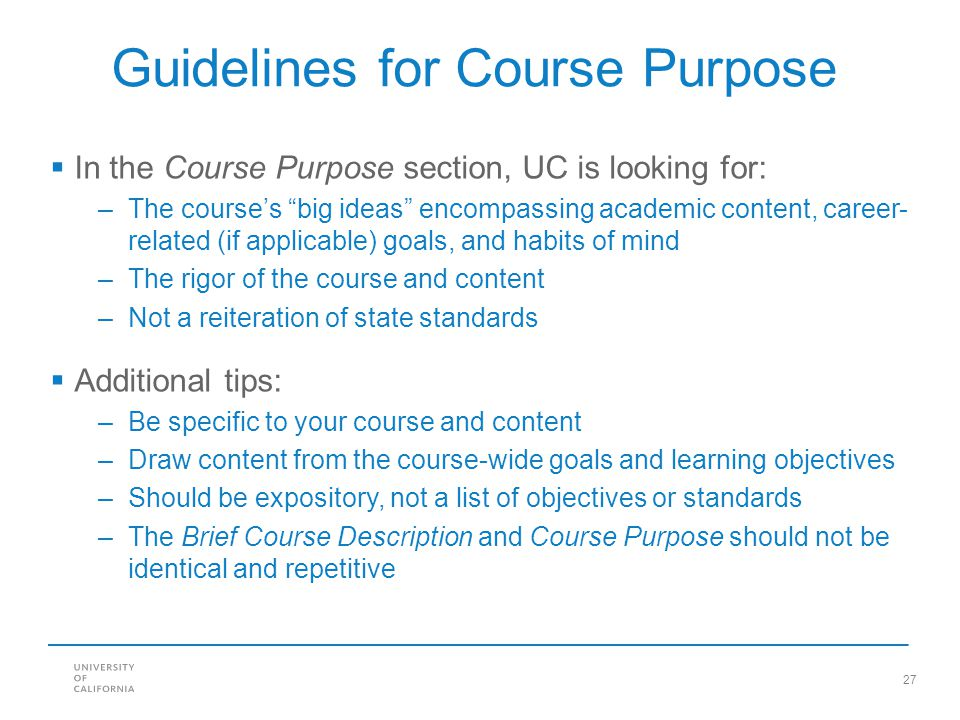Guidelines for Course Purpose