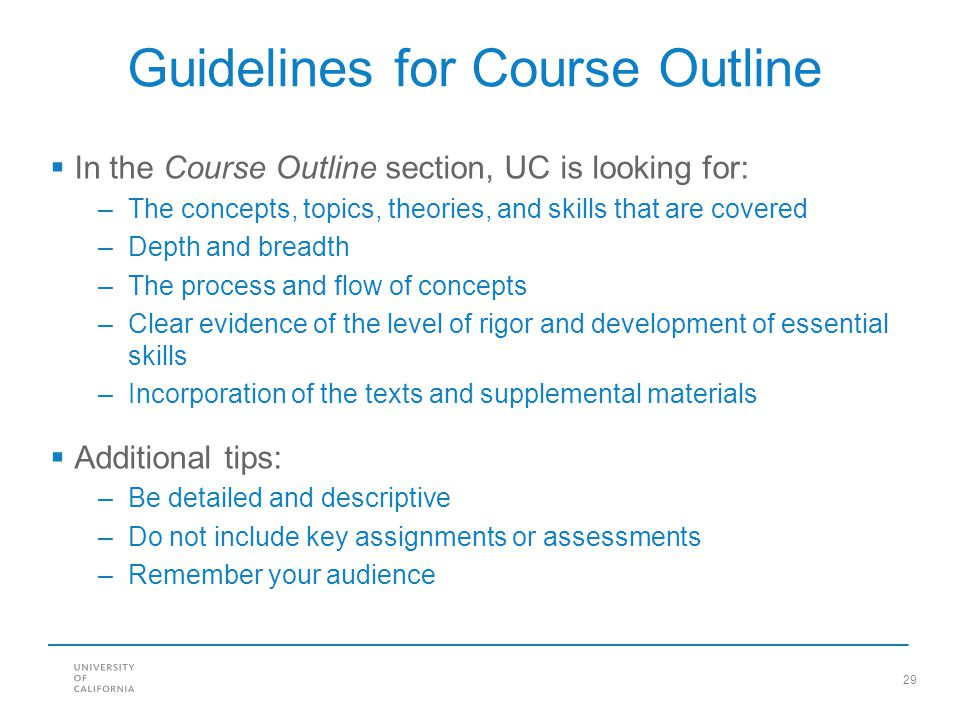 Guidelines for Course Outline