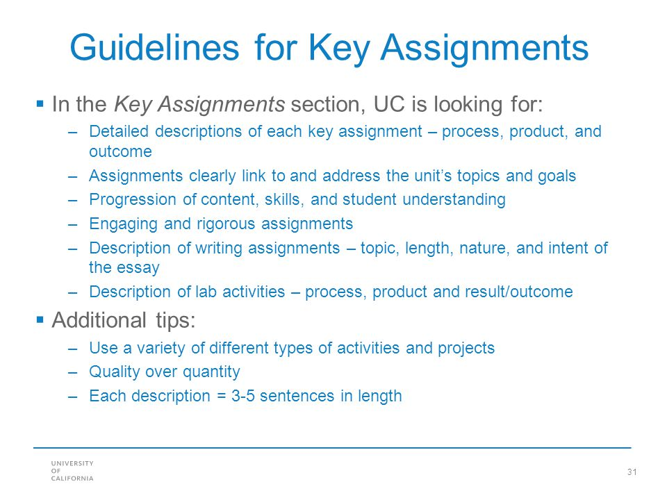 Guidelines for Key Assignments