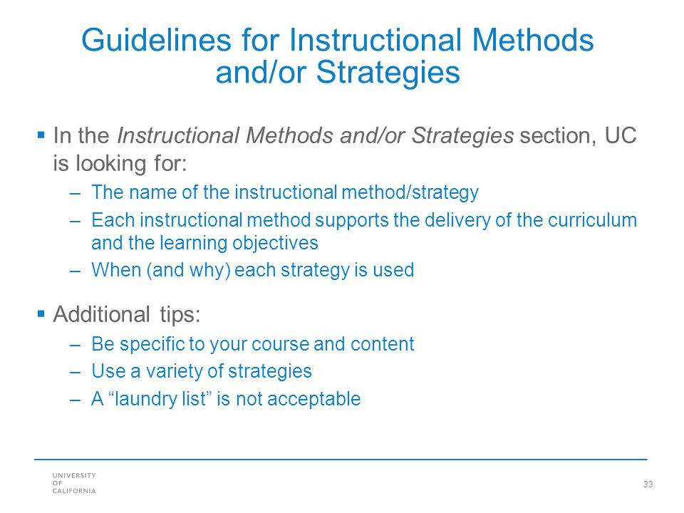 Guidelines for Instructional Methods and/or Strategies