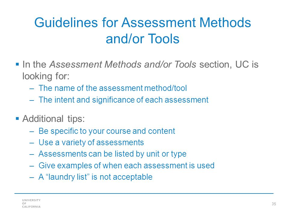 Guidelines for Assessment Methods and/or Tools