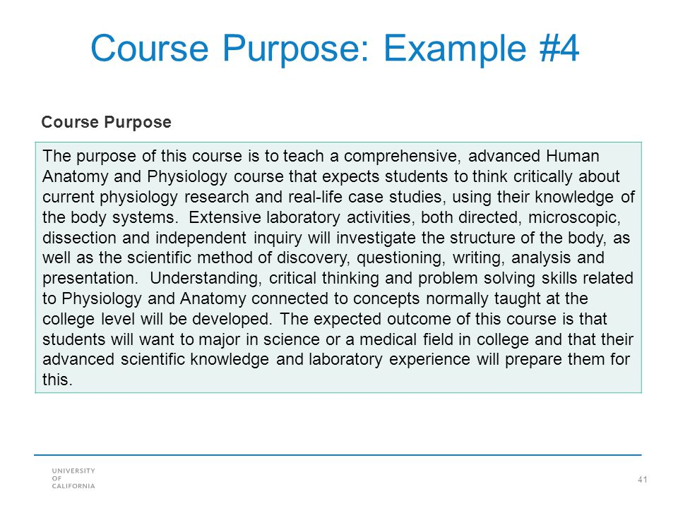 Course Purpose: Example #4